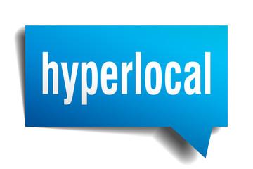 hyperlocal blue 3d speech bubble