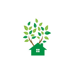 Tree house logo icon graphic template