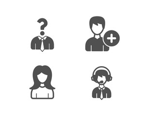 Set of Hiring employees, Add person and Woman icons. Shipping support sign. Human resources, Edit user data, Girl profile. Delivery manager.  Quality design elements. Classic style. Vector