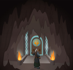 Illustration with gray hair hero before the mystic door in the cave