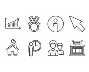 Set of Honor, Chart and Waiting icons. Couple, Mouse cursor and Shop signs. Medal, Presentation chart, Service time. Two male users, Click arrow, Store.  Information and Home design elements. Vector