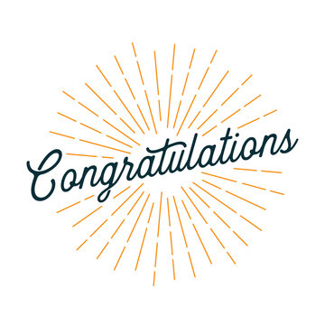 Congratulations Card with Light Rays