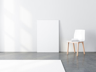 Poster canvas Mockup with chair, 3d rendering
