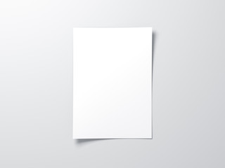 White vertical paper sheet Mockup, letter or invitation Wall mural