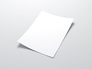 White vertical paper sheet Mockup