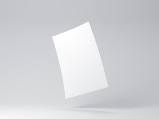 White flying sheet of paper Mockup