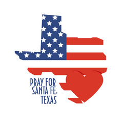 Pray for Santa Fe, Texas Vector Illustration. Donate, relief or help victims icon. Heart, map and text: Pray for Santa Fe, Texas.