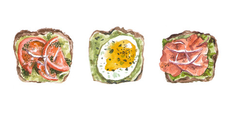 Set of sandwiches with tomatoes, onions, eggs and ham. Watercolor.