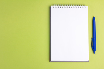 Blank notebook with pen on green pastel background. Flat lay concept. Copy space