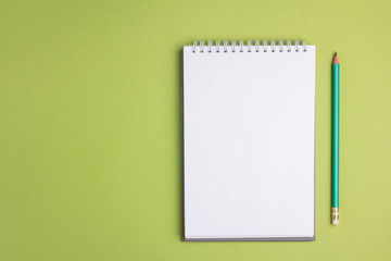 Blank notebook on green pastel background. Flat lay concept. Copy space