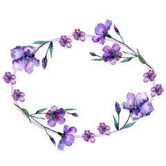 Violet flax. Floral botanical flower. Frame border ornament square. Aquarelle wildflower for background, texture, wrapper pattern, frame or border.