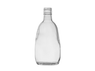 empty glass bottle for alcoholic drinks isolated on white background