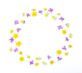 Round frame wreath made of meadow flowers isolated on white background. Top view. Flat lay.