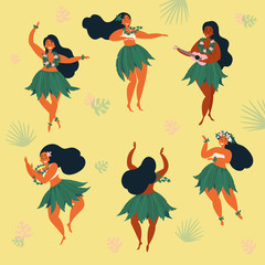 Set of girl in dance and sing with ukulele positions. Beautiful graceful Hawaiian plus size girl dancing hula in traditional costume. Garland and green skirt wearings. Vector cartoon illustration
