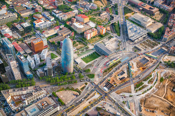 Barcelona aerial  high angle view with skyscrapers, Spain