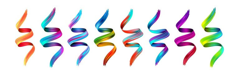 Set abstract colorful wave flow design elements. Vector illustration