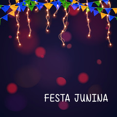 Brazilian june party vector background with lights and flag on bokeh background. Festa Junina