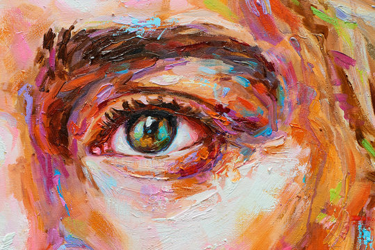 Painting female colorful portrait oil eye close up on canvas