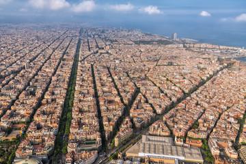 Aerial view of Barcelona city skyline and main street, Spain