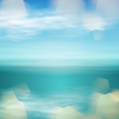 Sea landscape in sunny day and light on lens. EPS10 vector.