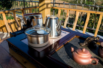 Utensils for the tea ceremony.