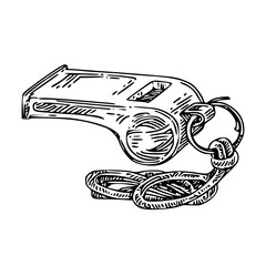 Sport whistle. Engraving style. Vector illustration.