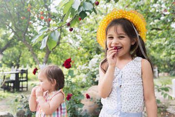 Happy Little Girls Welcome Summer Season in the Cherry Tree Garden, Organic Fresh Fruit Concept