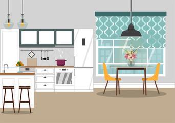Vector illustration of kitchen in Scandinavian style.