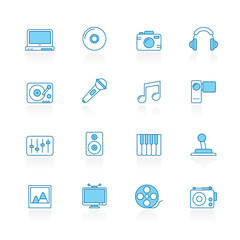 Line with blue background  Media, Entertainment and technology icons  - vector icon set