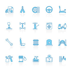 Line with blue background  Auto service and car part icons - vector icon set 2