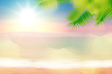 Beach and tropical sea with palmtree leaves and light on lens. EPS10 vector.
