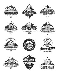 Vector mountain recreation and cabin rentals logo