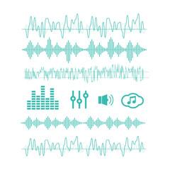 Signal wave set. Analog signals, digital sound waves