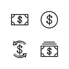 Set money dollar Line icon stock vector illustration. Editable Stroke. 100x100 Pixel Perfect