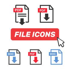 File download icon. Document icon set. PDF file download icon