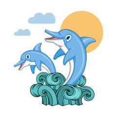 Set of Dolphin. Cartoon dolphin. Sea animal. Vector graphics to design.