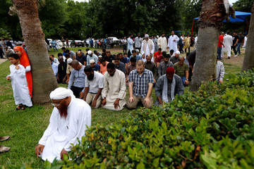 Members of the community pray during a funeral prayer service for Sabika Sheikh at the Brand Lane Islamic Center in Stafford