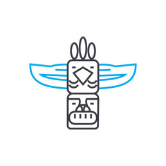 Indian totem line icon, vector illustration. Indian totem linear concept sign.