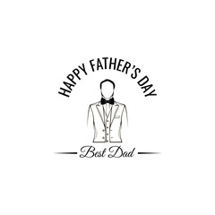 Fathers day card. Mens suit, Bow tie. Fathers day symbols. Greeting card design. Best dad ever inscription. Vector.