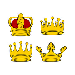 Golden crown. Royal jewelry, symbol of king queen and princess. Vector.