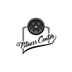 Disk weight barbell. Fitness center logo label. Sport badge. Fitness club emblem. Bodybuilding. Vector.