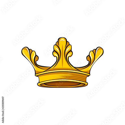 Royal Attribute Golden Crown Icon Queen King Symbol Vector