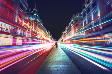 Keuken foto achterwand Nacht snelweg Speed of light in London City
