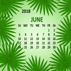 June. Calendar 2018, template. Week starts from Sunday. Vector illustration