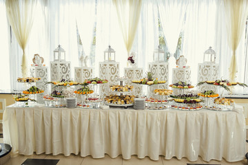 buffet table at the celebration of the wedding