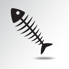 Fish bone icon with shadow. Vector illustration
