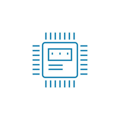 Microprocessor line icon, vector illustration. Microprocessor linear concept sign.