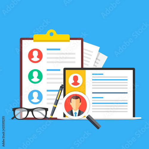 Human resources, recruitment  Clipboard with list of