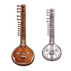 Vector sketch sitar musical insturment icon