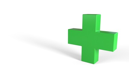 Medicine symbol on a white background, 3d rendering